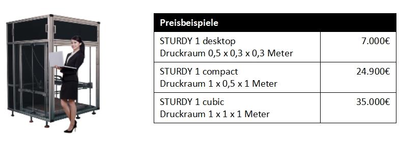 Preis 3D-Drucksysteme